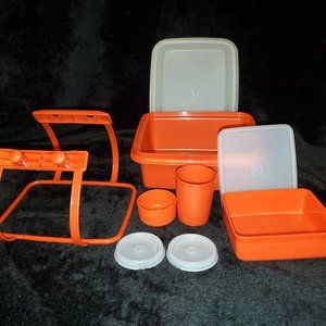 Vintage Tupperware Lunch Box Set with Handle